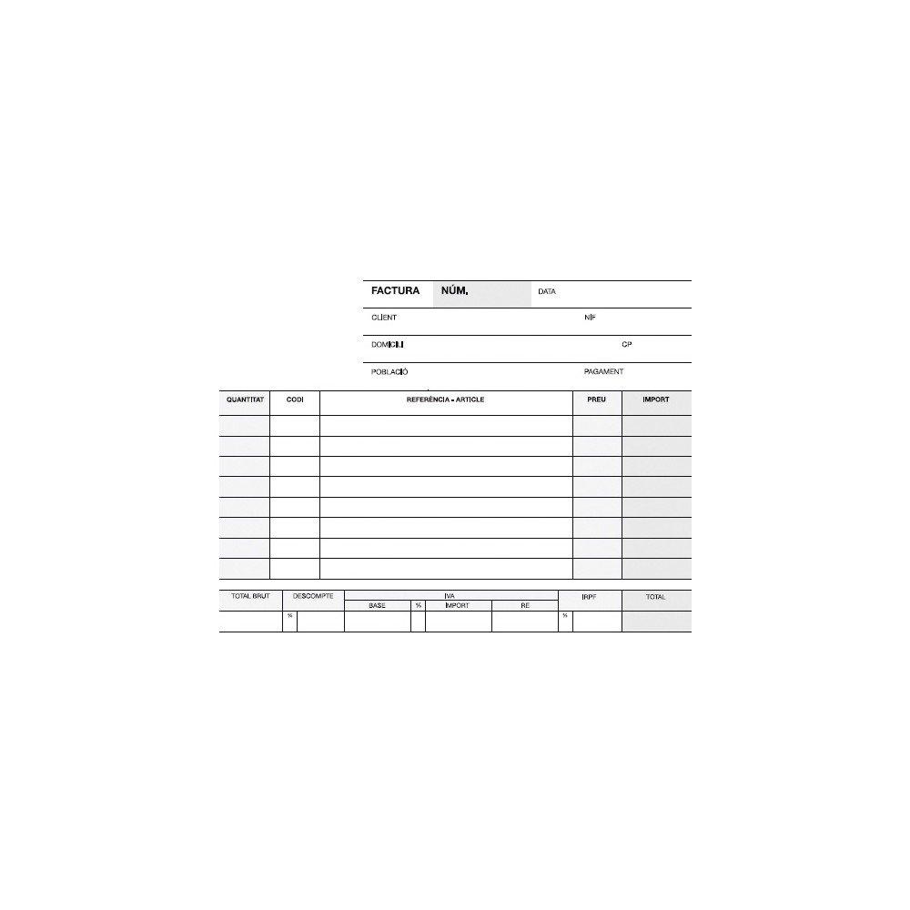 Talonario Facturas en Catalán 145x105 mm A-67 Apli 12942-1