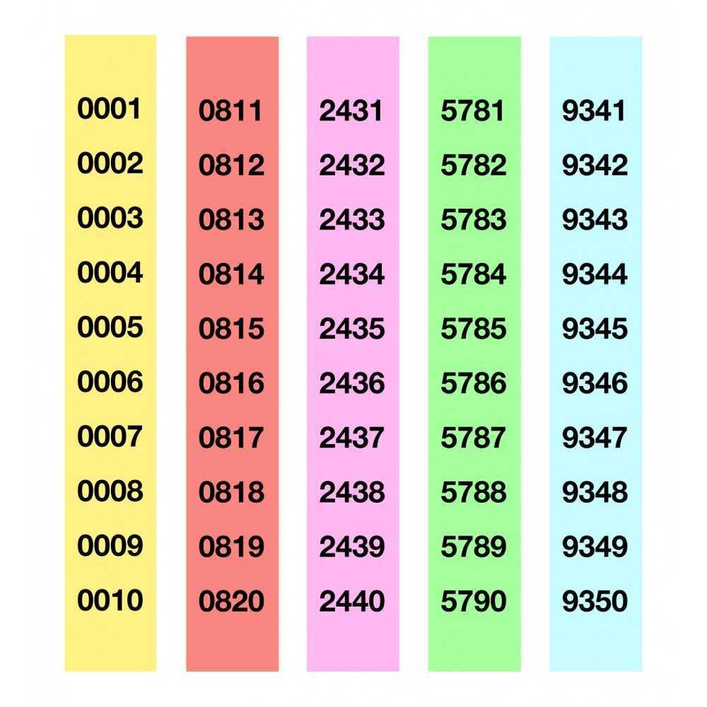 Tiras de Rifa Lluminetas del 1 al 5000 210x30 mm Apli 13109-1