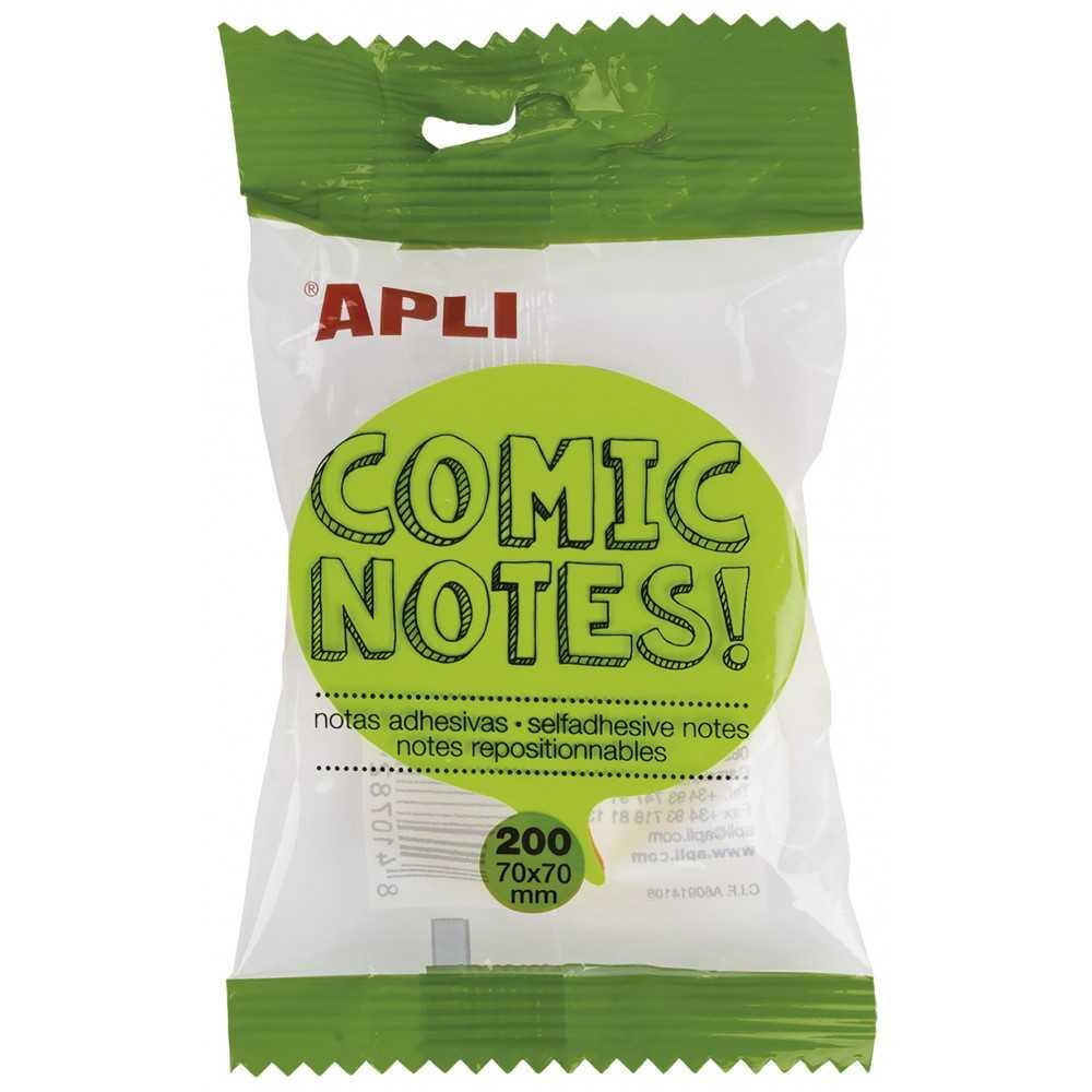 Cubo 200 hojas Taco Notas Adhesivas Forma Viñeta Comic 70x70mm Apli 16278 compraetiquetas.com