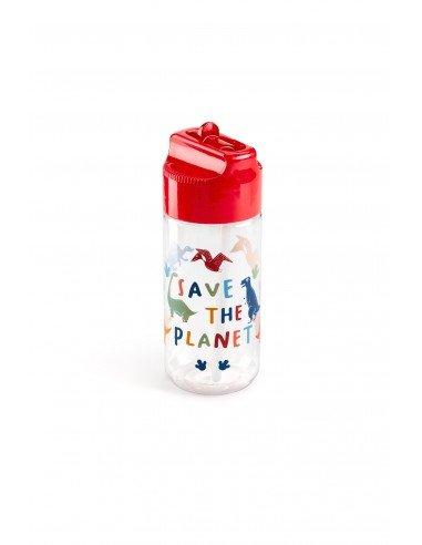 Botella Infantil Roja Dinos Save The Planet