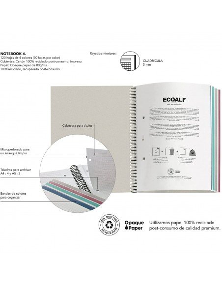 Notebook Cuadrícula A4 Color Mostaza Ecoalf by MiquelRius  info