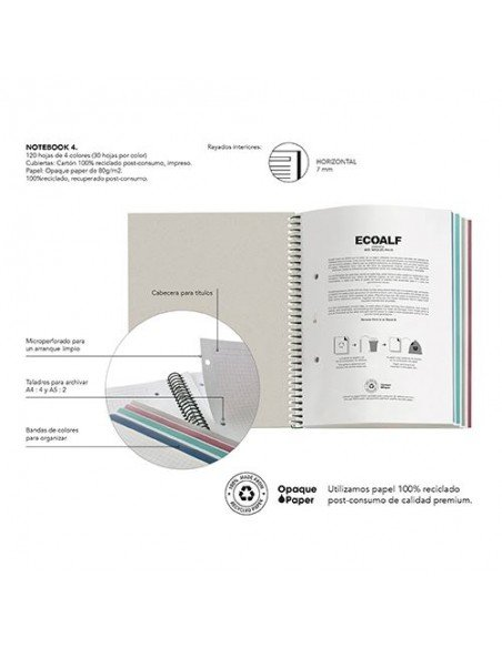 Notebook Rayado A4 Color Burdeos Ecoalf by MiquelRius - info