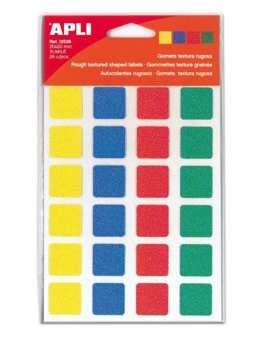 Gomets Cuadrados Textura Rugosa Colores Surtidos