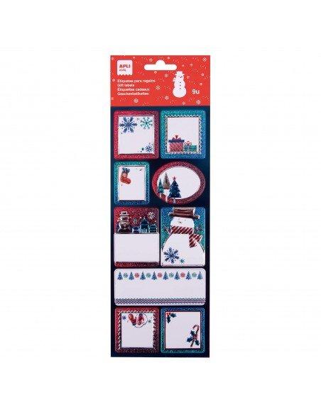 Etiquetas Regalo Navidad Motivo Muñeco de Nieve Apli 18890