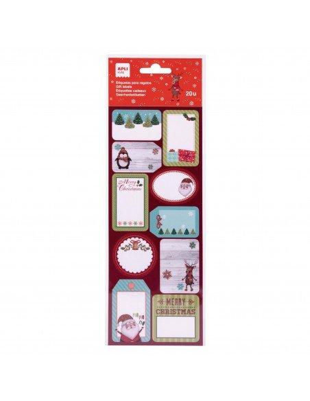Etiquetas Para Regalos de Navidad Acabado Glitter Apli 18555