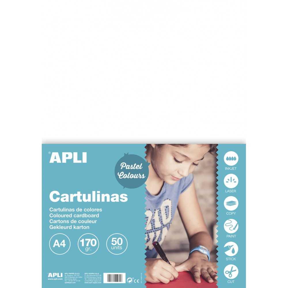 50 Hojas Cartulina A4, 170gr Color Blanco Apli 14229 compraetiquetas.com